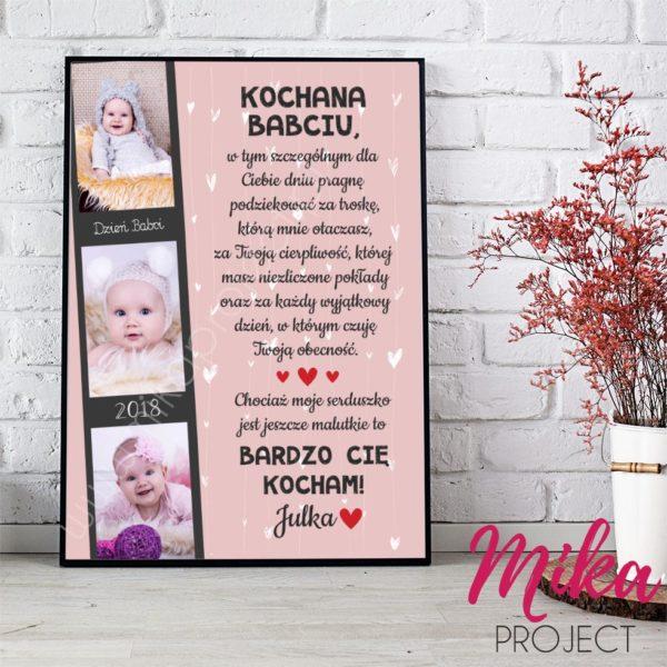 dzien babci i dziadka trzy zdjecia rozowe tlo obrazek plakat do druku na sciane