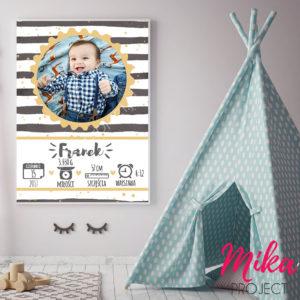 metryczka ze zdjęciem obrazek do pokoju dziecięcego Mika Project