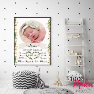 prezent na chrzest, narodziny dziecka, metryczka, obrazek
