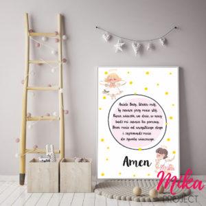 modlitwa dla dziewczynki z aniołkami, aniele boży stróżu mój, plakat