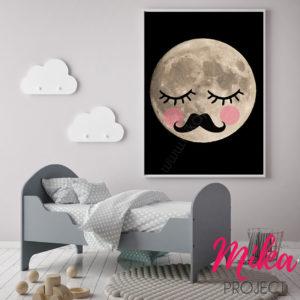 obrazek, plakat do pokoju dziecięcego księżyc mika project