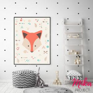 obrazek, plakat boho do pokoju dziecięcego lisek mika project