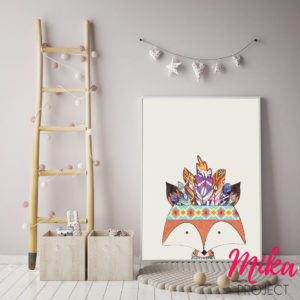 plakat boho, obrazek do pokoju dziecka lisek indianin mika project