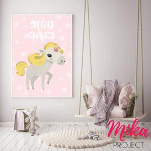 plakat do pokoju dziecięcego jednorożec, obrazek dla dziewczynki