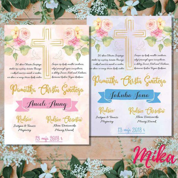 Prezent plakat pamiątka chrztu świętego dla chłopca i dziewczynki