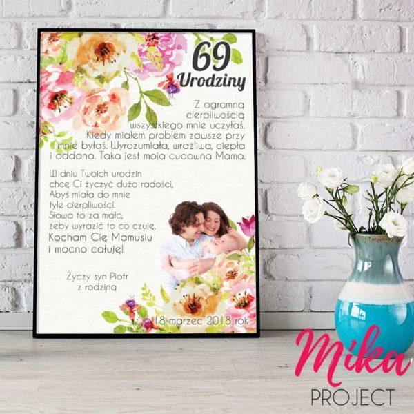 Plakat ze zdjeciem na urodziny, śliczny prezent, Mika Project