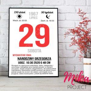 Plakat kartka z kalendarza na urodziny, śliczny prezent, Mika Project