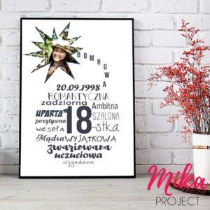 Plakat ze zdjeciem bombowa 18 na urodziny, śliczny prezent, Mika Project