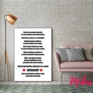 Plakat z napisami do domu