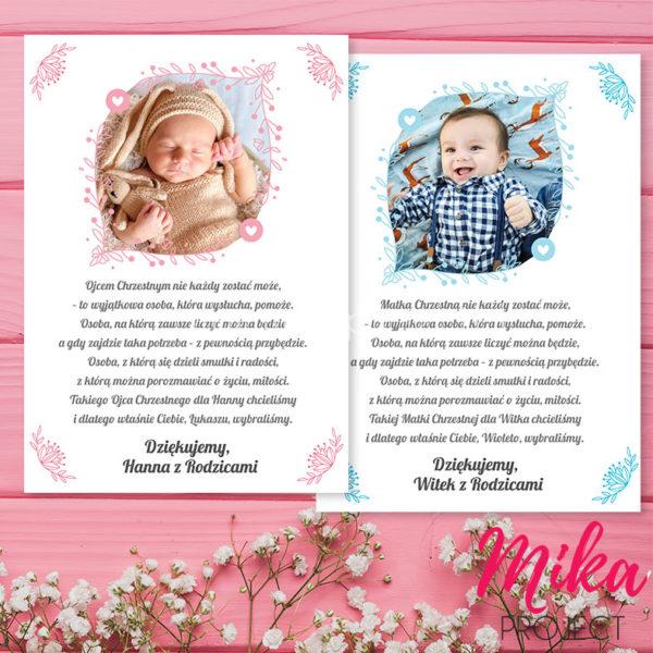 Podziękowanie dla rodziców chrzestnych ze zdjęciem i wierszykiem
