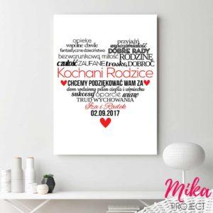 Oryginalny prezent podziękowanie dla rodziców plakat z napisami mika project