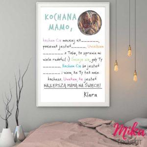 Prezent na dzień mamy obrazek,plakat z napisami do przedszkola mika project