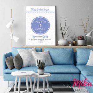 Oryginalny prezent na rocznicę ślubu plakat z napisami mika project