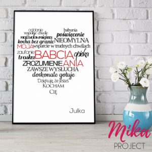 prezent dla babci serce z napisami plakat obrazek z ramką