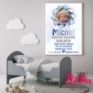 śliczna metryczka ze zdjęciem dla chłopca, plakat do pokoju dziecięcego, chłopiec
