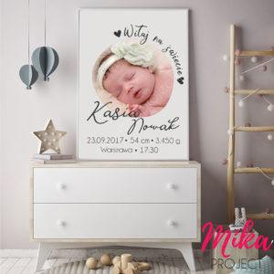 śliczna metryczka ze zdjęciem dla dziewczynki i chłopca, plakat do pokoju dziecięcego