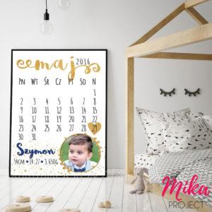 metryczka ze zdjęciem jako kartka z kalendarza obrazek do pokoju dziecięcego Mika Project
