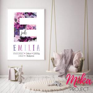 metryczka z napisami kwiaty obrazek do pokoju dziecięcego Mika Project