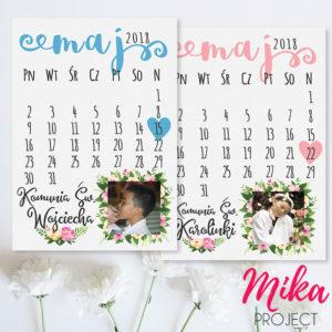 Prezent na komunie świętą obrazek z napisami kartka z kalendarza ze zdjęciem