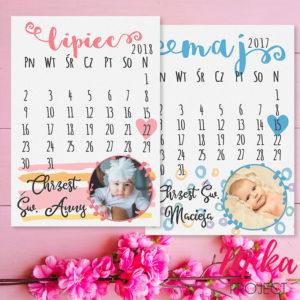 Prezent pamiątka chrztu świętego obrazek z napisami kartka z kalendarza ze zdjęciem
