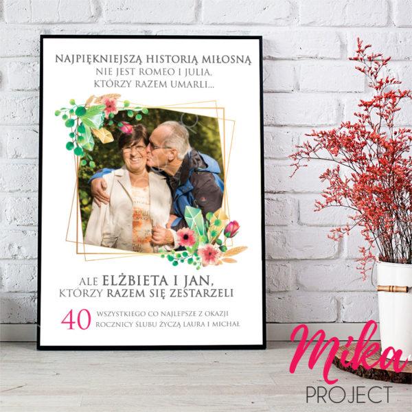 prezent na rocznicę ślubu historia miłosna Romeo i Julia plakat mika project