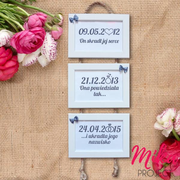 Prezent na ślub i rocznicę ślubu pamiątkowe ramki z datami
