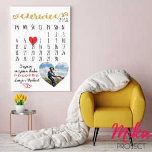 Prezent na ślub, rocznicę ślubu obrazek z napisami kartka z kalendarza ze zdjęciem