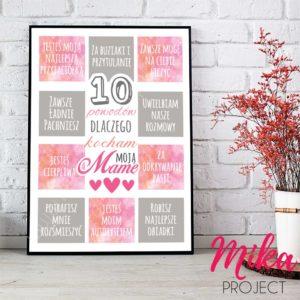 10 powodów dlaczego kocham moją mamę prezent na dzień mamy mika project plakat, ramka