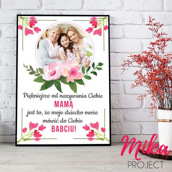 Prezent na Dzień Mamy plakat, piękniejsze od nazywania Ciebie mamą jest to, że moje dzieci mogą mówić do ciebie babciu, ramka prezent na dzień mamy mika project do druku