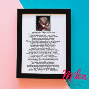 Prezent na dzień taty ojca obrazek z napisami nienarodzone dziecko usg ze zdjęciem mika project