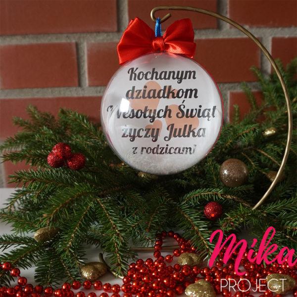 Bombka ze zdjęciem i życzeniami prezent na święta fotobombka Mika Project