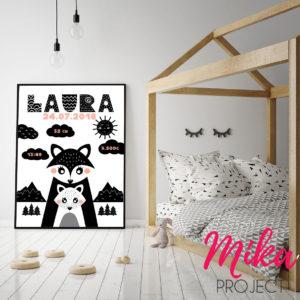 obrazek skandynawski metryczka do pokoju dziecięcego Mika Project