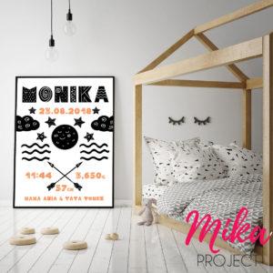 metryczka skandynawska plakat do pokoju dziecięcego Mika Project