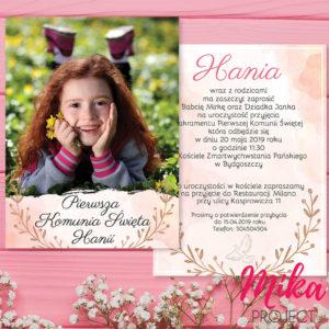 Zaproszenie na komunie świętą ze zdjęciem dziecka