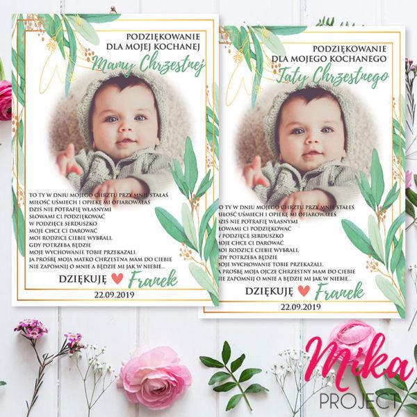 Prezent Podziękowanie dla rodziców chrzestnych, plakat z ramką