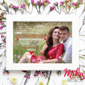 Podziękowanie dla rodziców plakat ze zdjęciem serce mika project